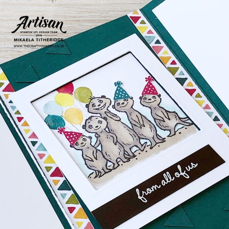 The Gang's All Meer, Meerkat Sale-a-Bration 2020 Sneak Peek Stamp Set that's FREE with a £45 spend and available from Artisan Design Team Member 2019, Mikaela Titheridge, UK Independent Stampin' Up! Demonstrator, The Crafty oINK Pen. Supplies available through my online store 24/7 #von uns allen #Erdmännchen