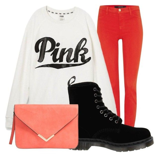 """""""Pink"""" by djg-87 ❤ liked on Polyvore featuring J Brand, Victoria's Secret and Dr. Martens"""