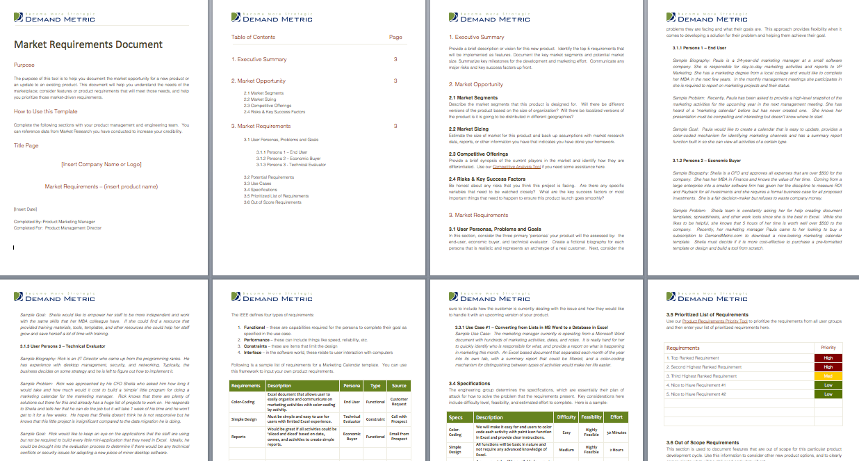 Market Requirements Document A Template That Summarizes Market - Market requirements document template