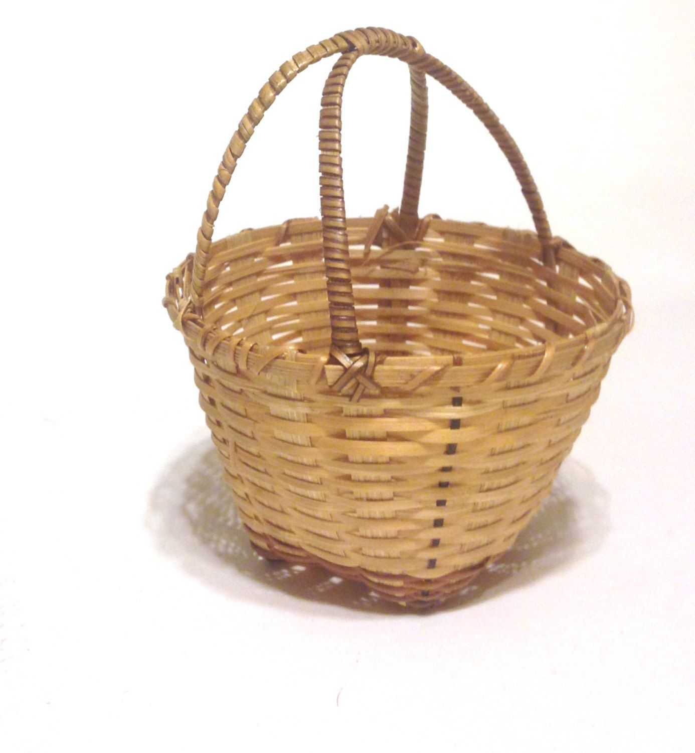 Basket sale 25 off miniature double handle small round wicker basket sale 25 off miniature double handle small round wicker basket yesteryears cute easter basket country cottage chic wicker cute gift ideascute negle Images