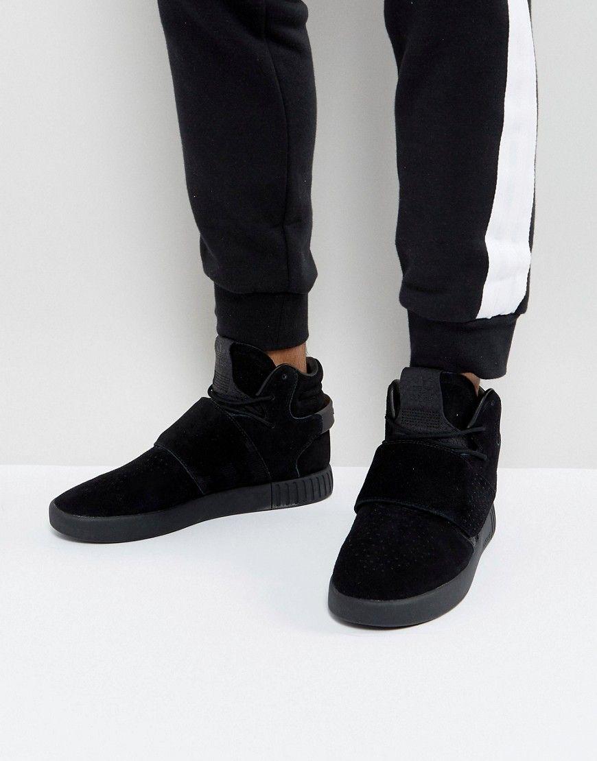 buy popular 4fbc0 8ccf9 adidas Originals Tubular Invader Strap Sneakers In Black BY3632 - Blac