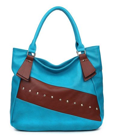 Another great find on #zulily! Blue Studded Bette Shoulder Bag #zulilyfinds