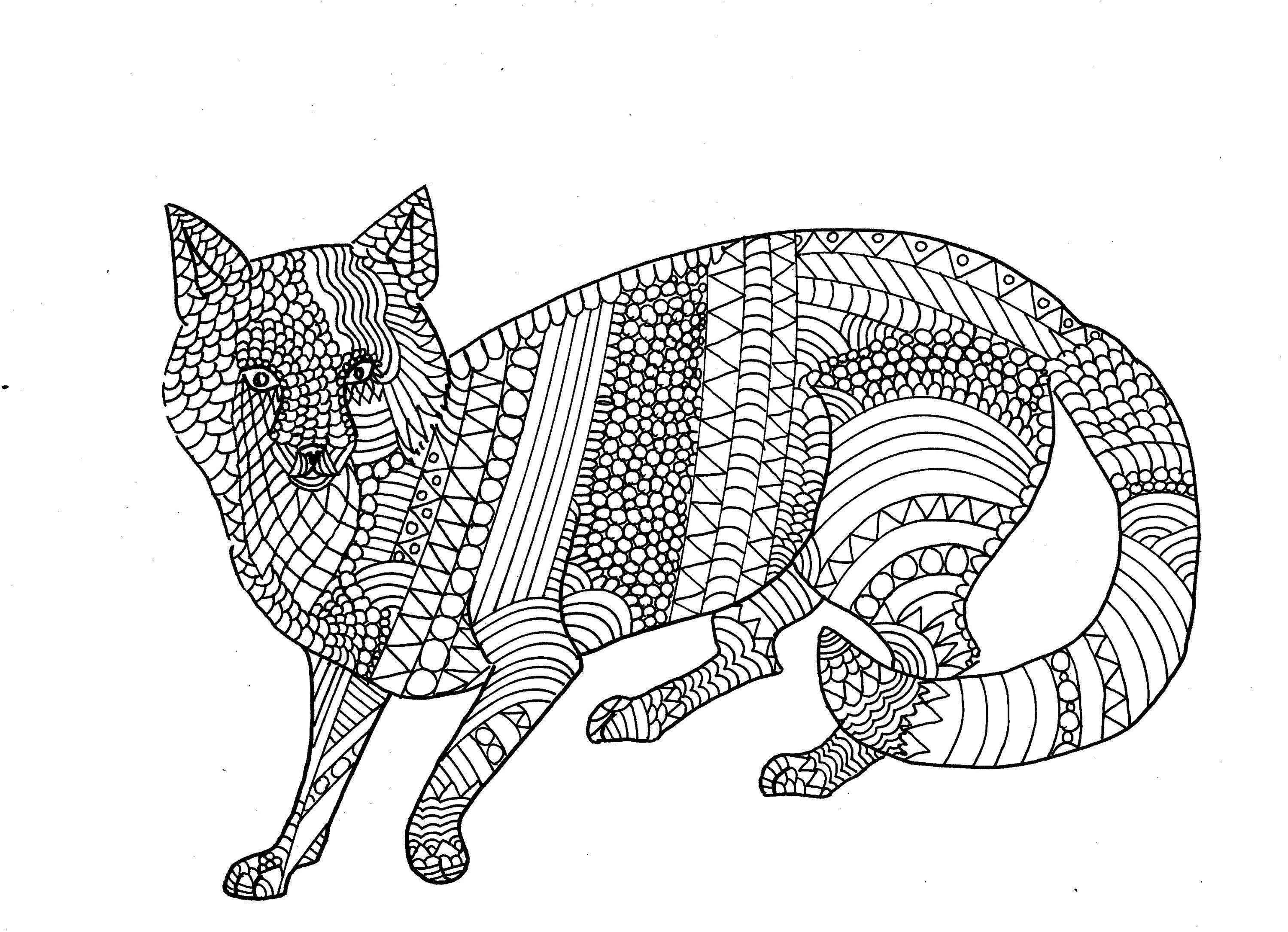Red Fox Colouring Page Adult Colouring Page Digital Product