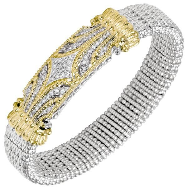 Diamond Bangle Bracelet in Sterling Silver & 14K Yellow Gold Featuring 0.49 Carat Total Round  Pave Set Diamonds by Vahan. Available at http://qoo.ly/mm49x $6200 https://www.bengarelick.com/products/vahan-sterling-silver-14k-yellow-gold-diamond-12mm-bangle-bracelet