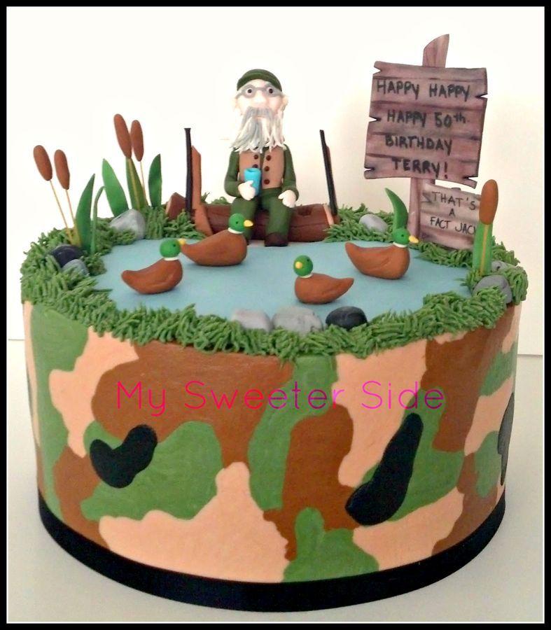 Duck Dynasty themed birthday cake Camo buttercream with fondant