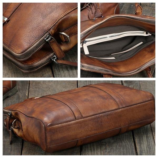 Handmade Vintage Brown Leather Briefcase Men Business Bag Handbag Fashion Laptop 14119 Lisabag