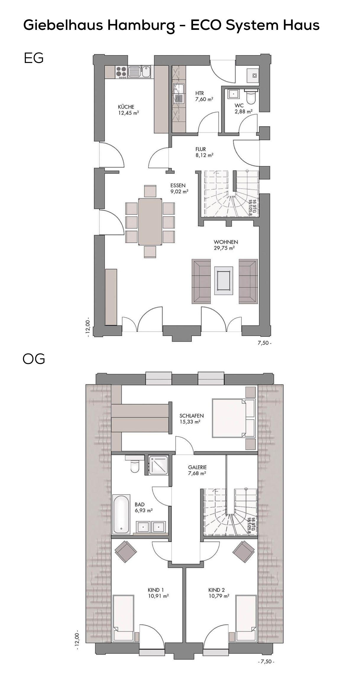 grundriss einfamilienhaus schmal als landhaus mit satteldach architektur 4 zimmer 124 qm wfl. Black Bedroom Furniture Sets. Home Design Ideas