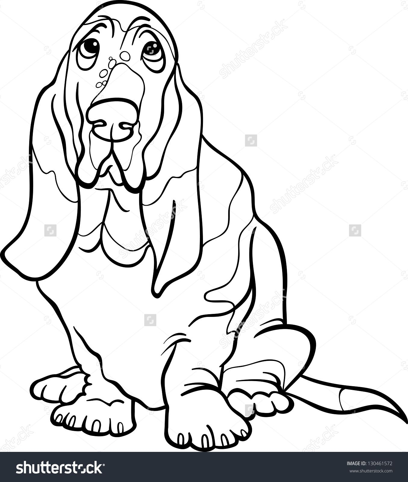 black and white cartoon vector illustration of cute basset hound