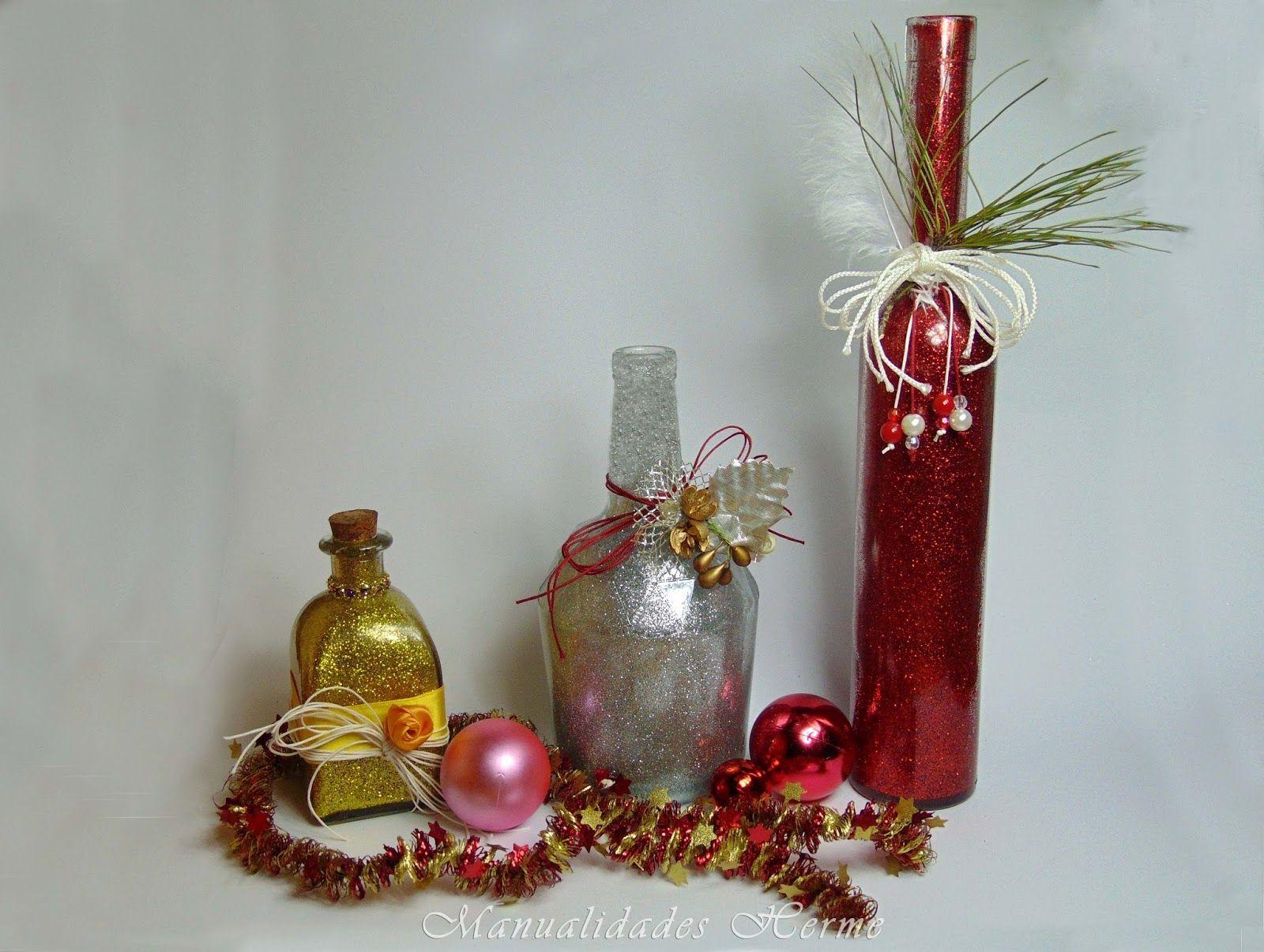 Manualidades herme diy botella decorada para navidad - Manualidades de navidad ...