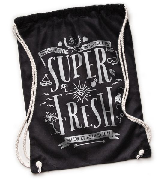 Super Fresh - Turnbeutel - Schwarz von Kane Grey auf DaWanda.com