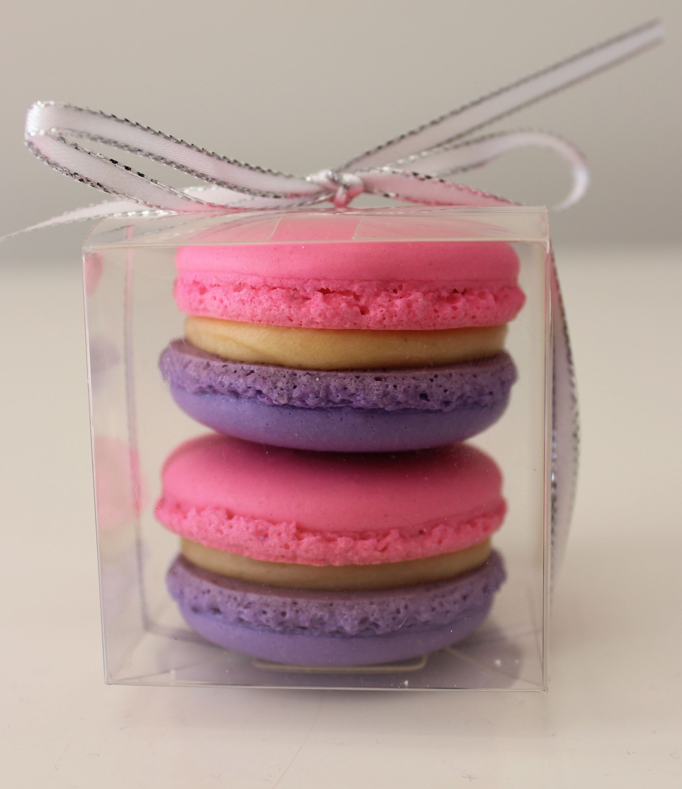 2 x pink and purple French macarons in clear box with silve and ...