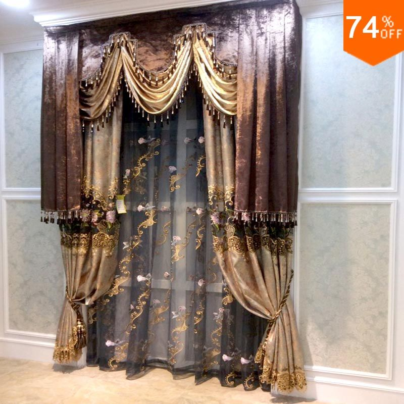 find more curtains information about brown valance beige embroidery golden flowers curtains. Black Bedroom Furniture Sets. Home Design Ideas