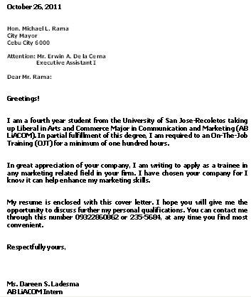 example application letter for ojt business administration - cover letter for office clerk