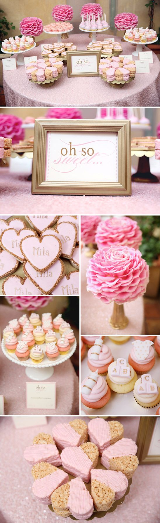 a feminine elegant baby shower in pink and gold dessert tables