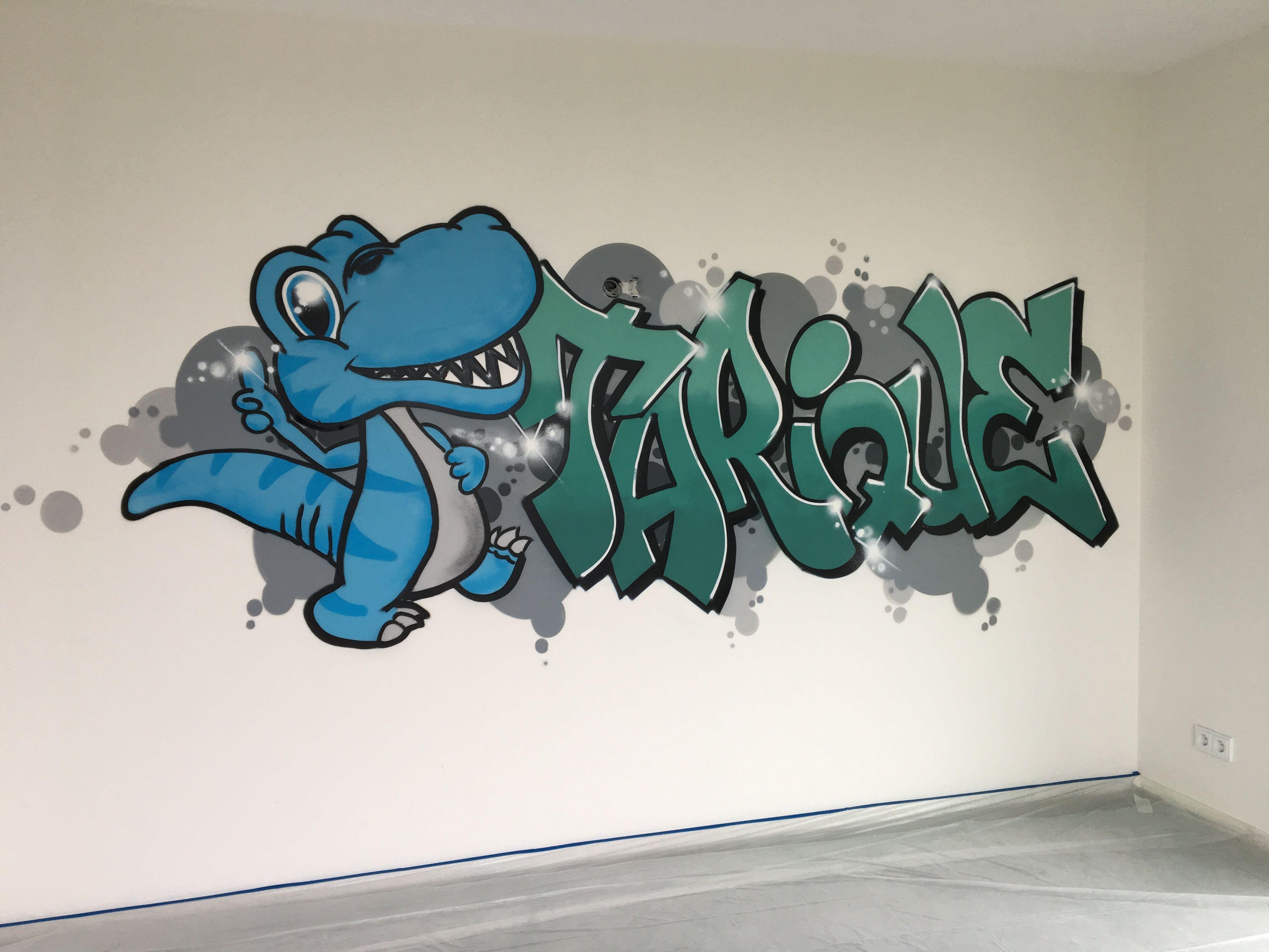 Stoere dino Graffiti slaapkamer #dino #slaapkamer #graffiti ...