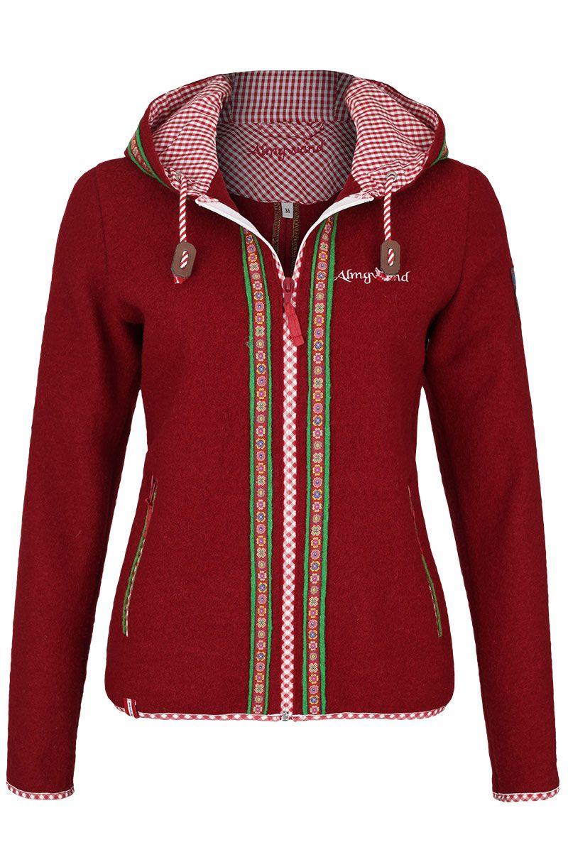 f18740add9d7af Damen Trachtenjacke mit Kapuze rot | jacken von austria ...