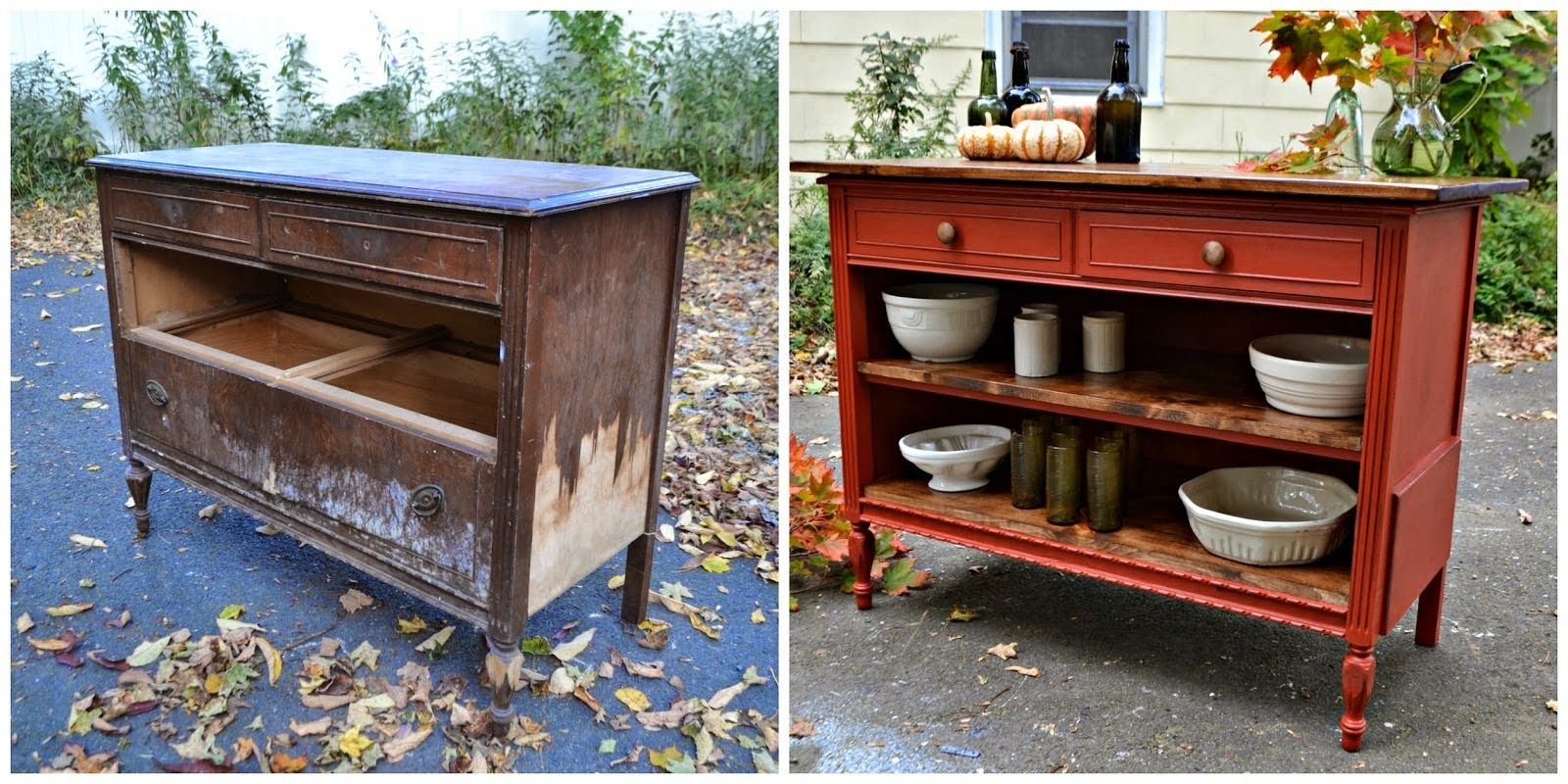 Heir and Space: Before and After | Dresser kitchen island ...
