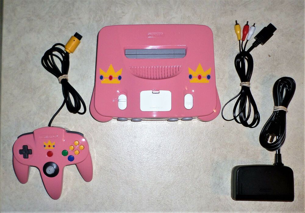 Nintendo 64 N64 Custom Painted PRINCESS PEACH Theme PINK / WHITE +