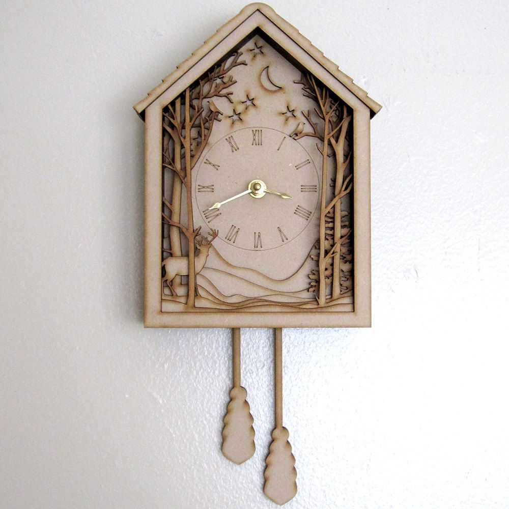 Cuckoo Clock Winter Midnight Forest Diorama Laser Cut