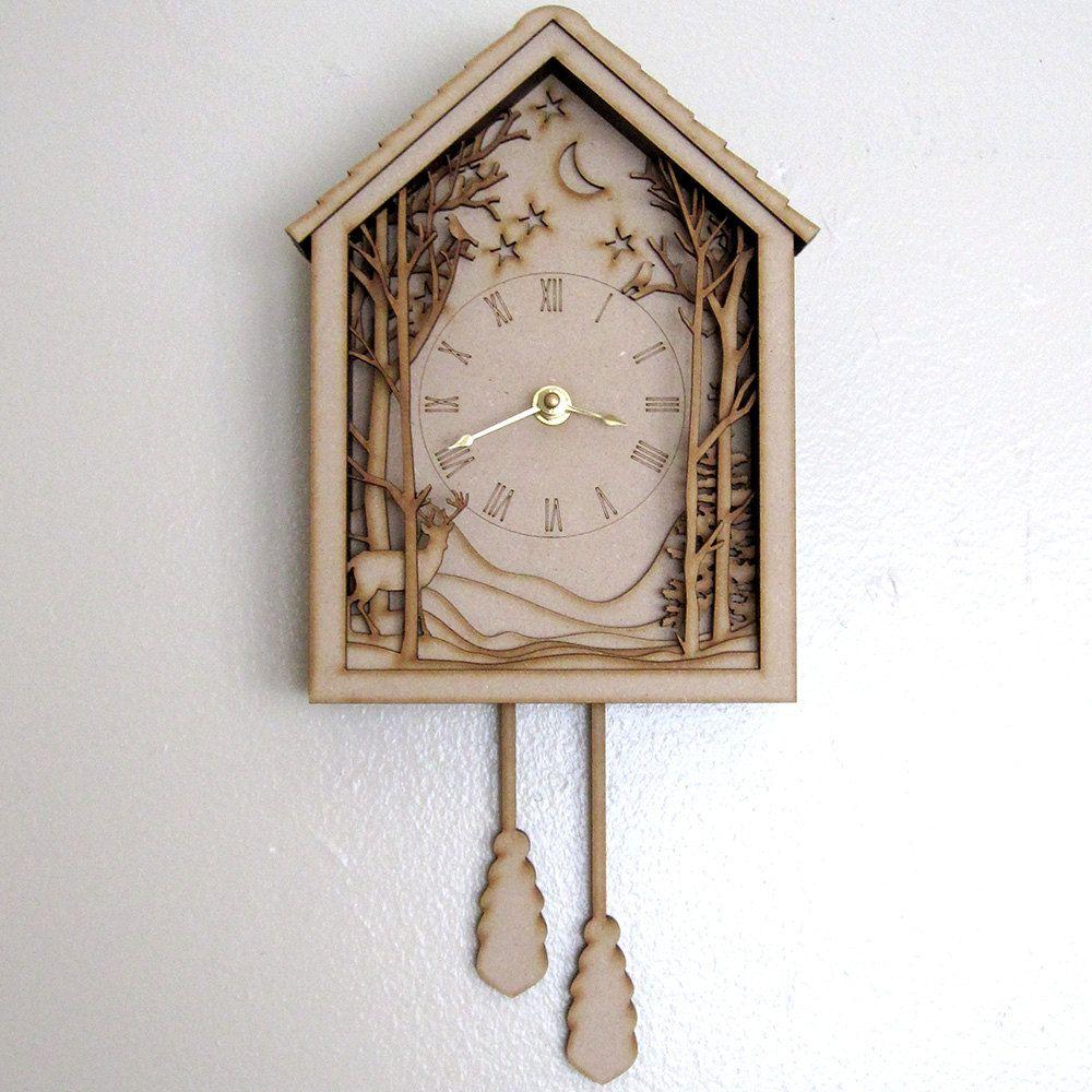 Cuckoo clock winter midnight forest diorama laser cut wood wall hanging via etsy - Wooden cuckoo clocks ...