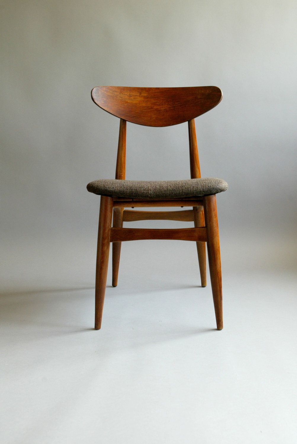 Danish modern walnut dining chairs - Mid Century Sculptural 60s Danish Style Walnut Teak Chair