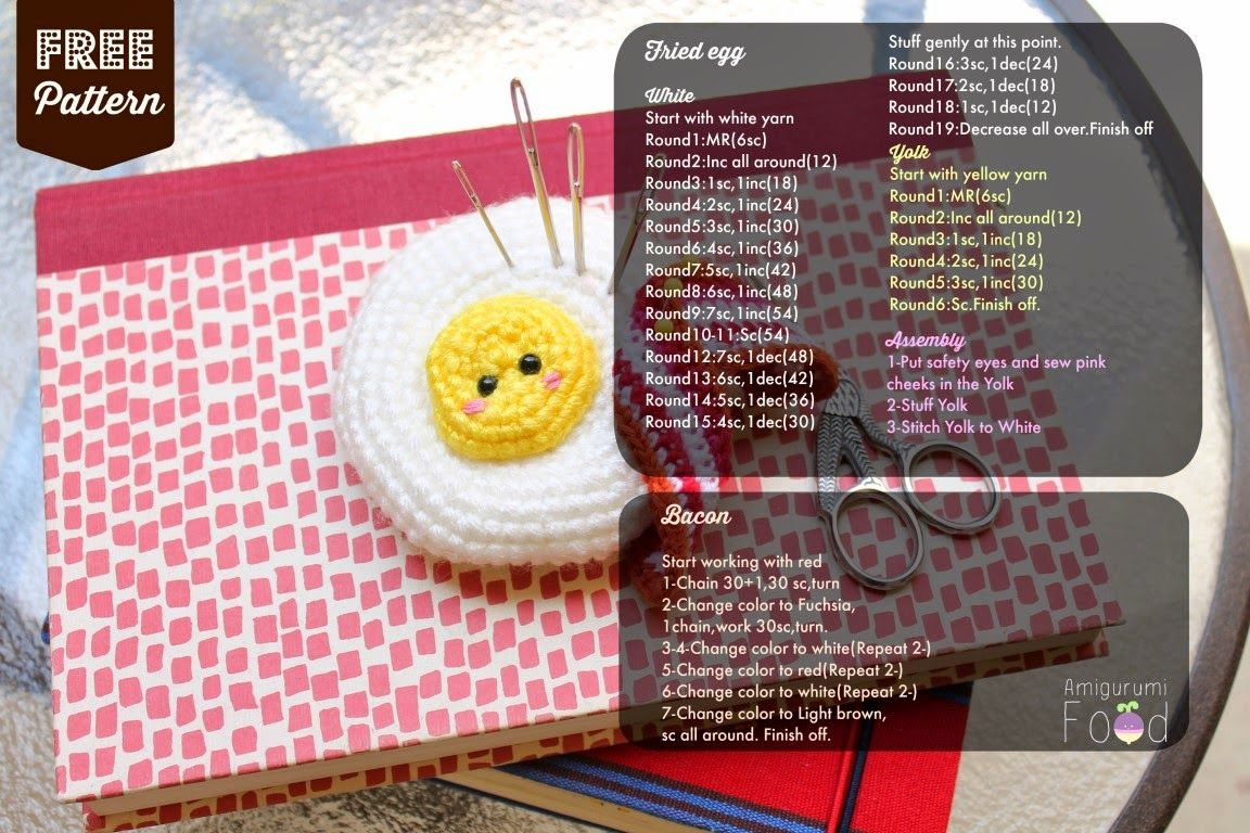 Amigurumi Food: Free pattern Fried egg Pincushion Amigurumi ...