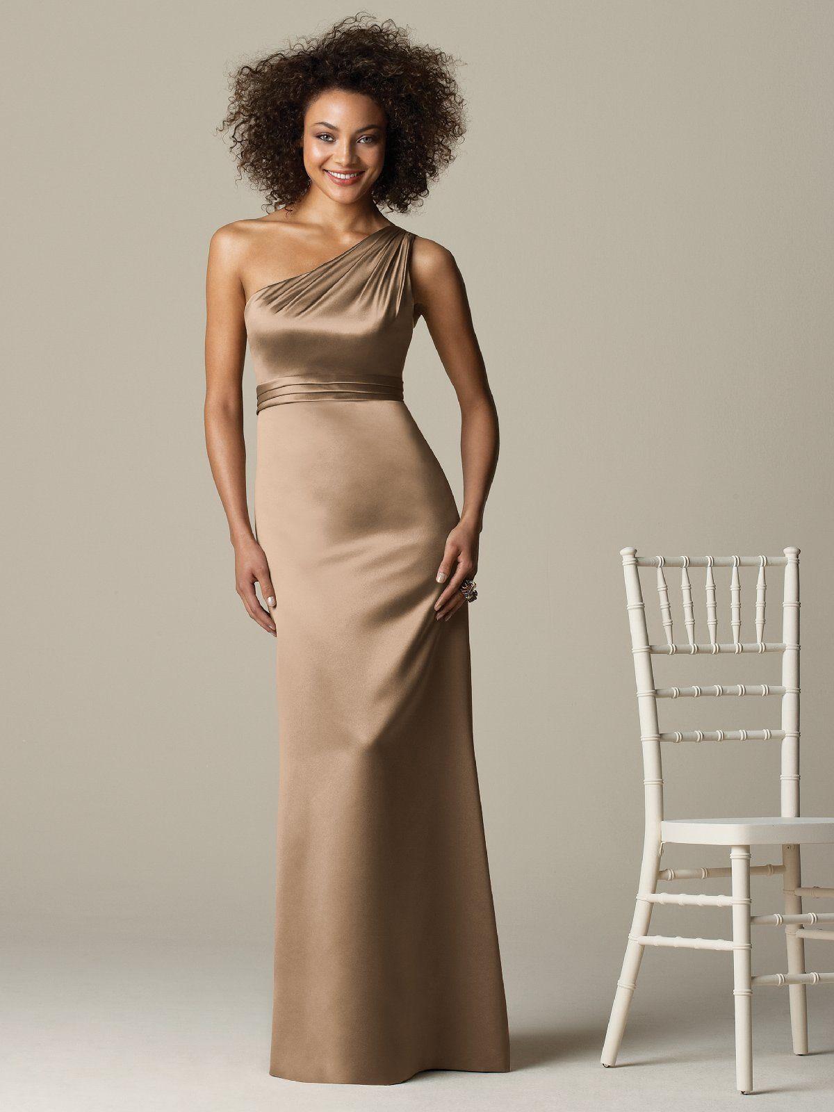 one shoulder prom dress champagne color
