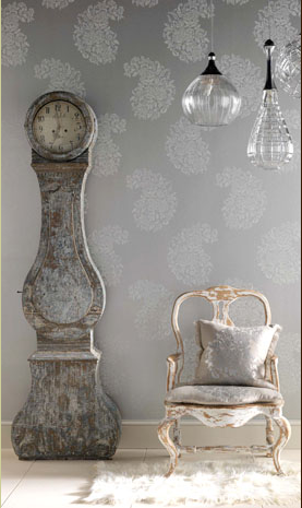 soft paisley on walls works well with the 'shabby' antiques and modern glass lamps