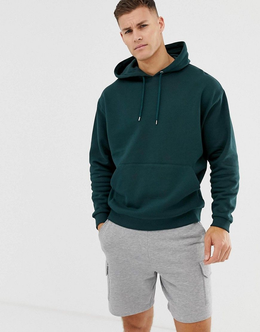 Asos Design Oversized Hoodie In Dark Green Green Asosdesign Cloth Sweater Outfits Men Green Hoodie Men Dark Green Sweater Outfit [ 1110 x 870 Pixel ]