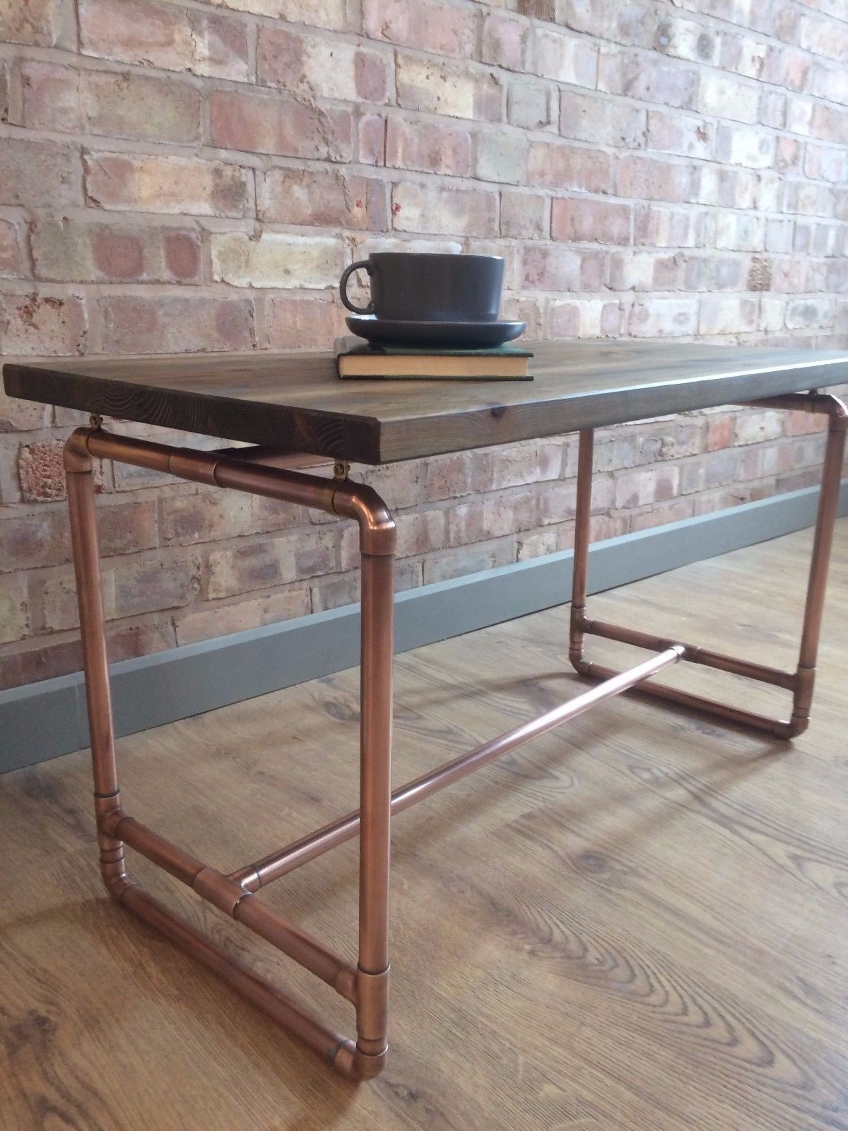 Bespoke Rustic Industrial Handmade Pine and Copper Pipe Coffee