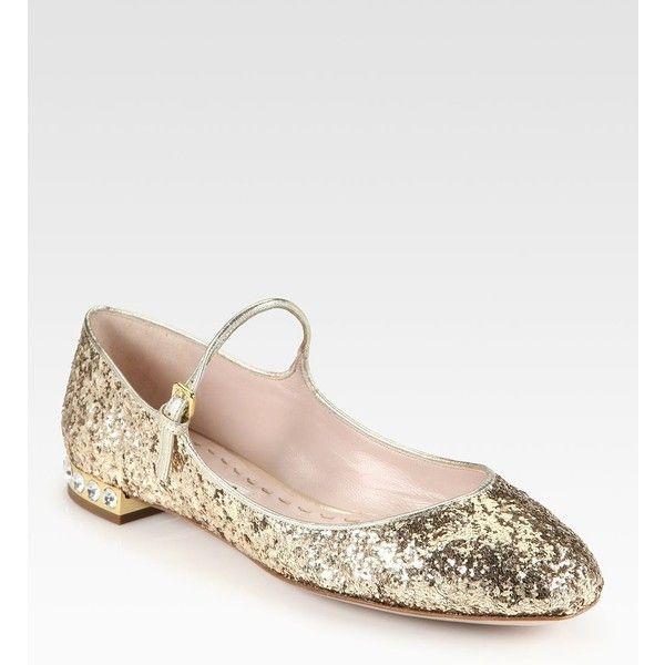 Miu Miu Glitter Rhinestone-Heel Mary Jane Flats ( 310) ❤ liked on Polyvore  featuring shoes