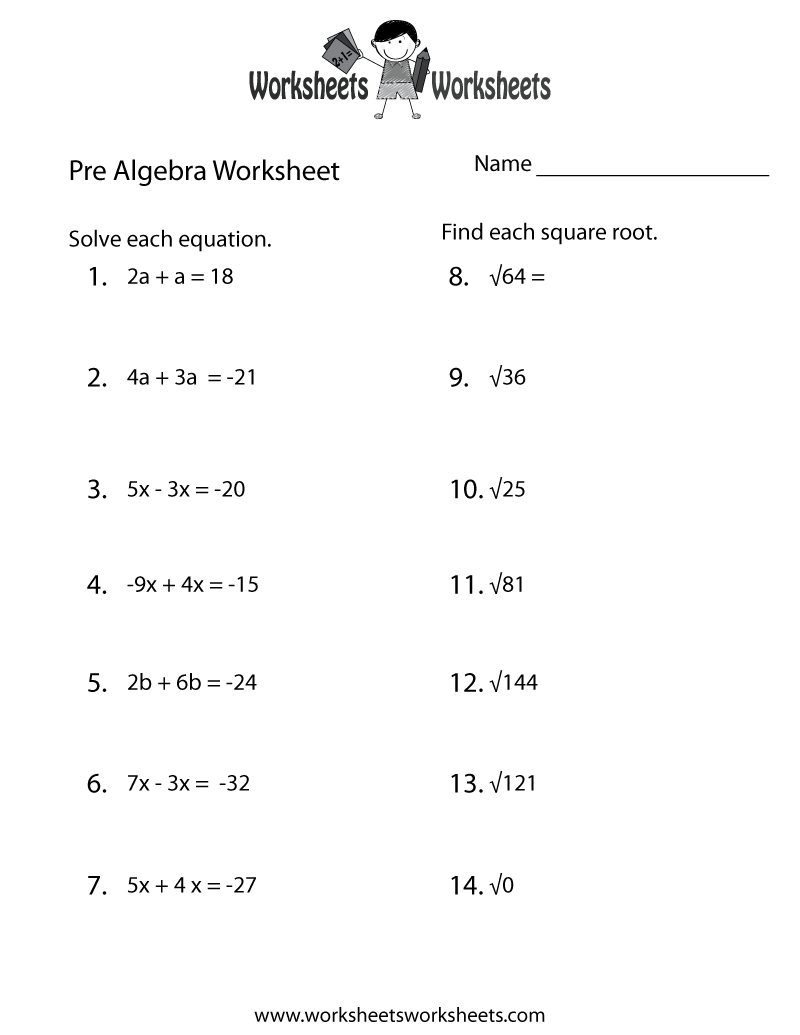 Printables Pre-algebra Worksheets Printable algebra and worksheets on pinterest