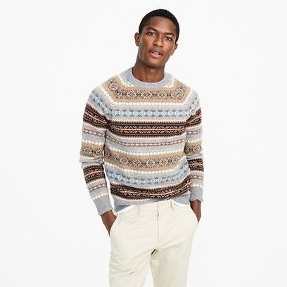 Lambswool Fair Isle crewneck sweater in granite | My Two Front ...