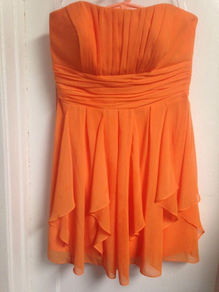 David's Bridal Formal Dress Size 14 Bright Orange Hunter