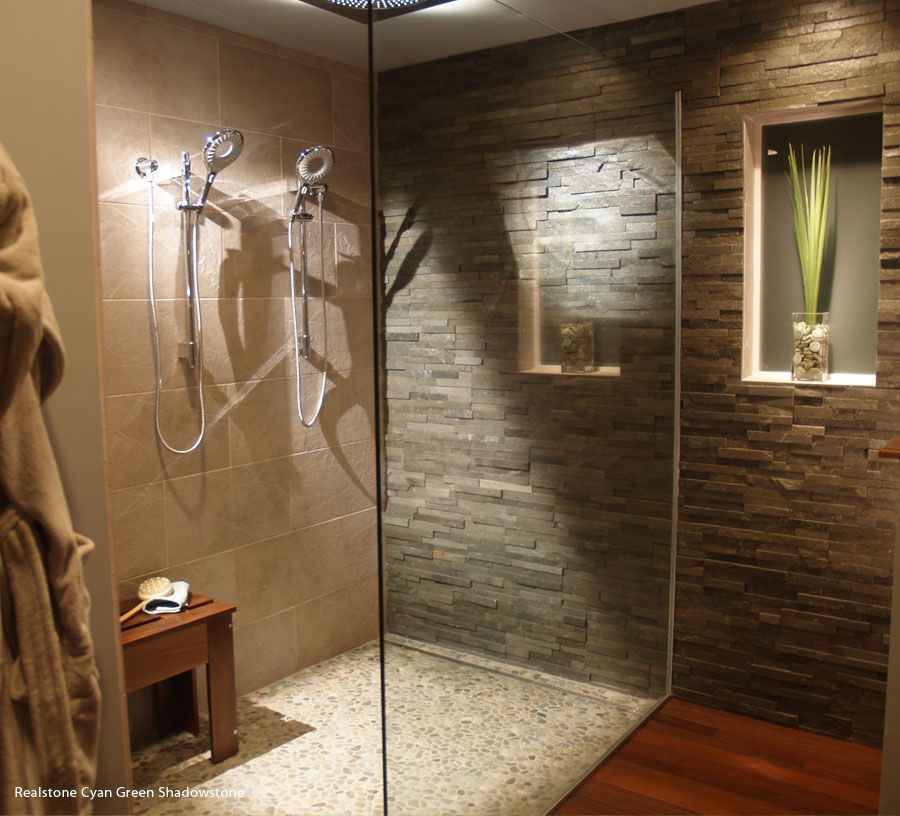 asian inspired bathroom stone tile and floor pebbles