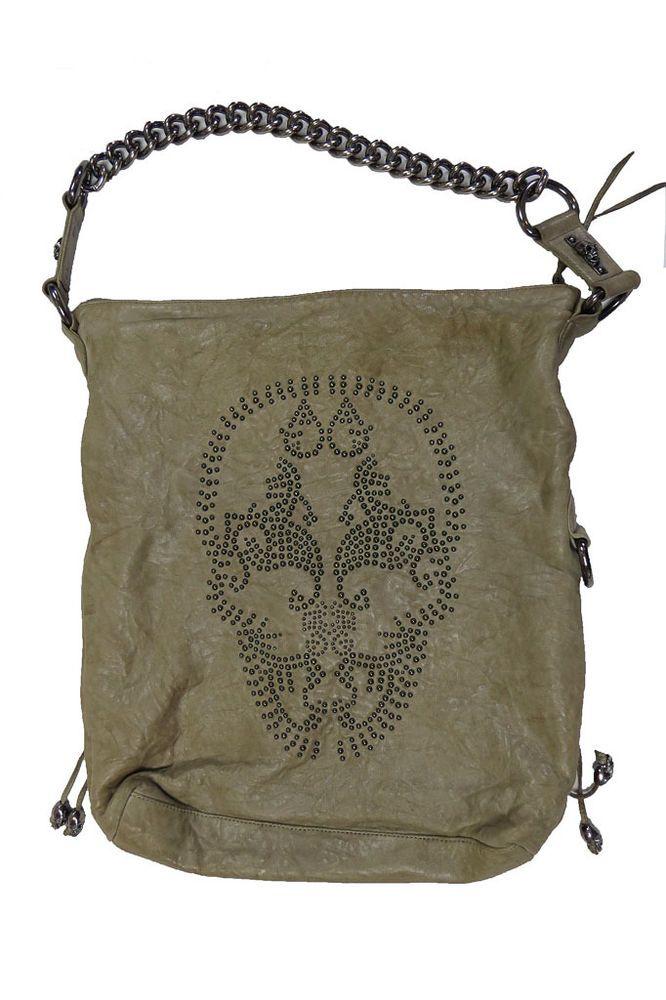 8a28deaa0da0 Thomas Wylde Pale Cocoa Leather Skull Studded Bag