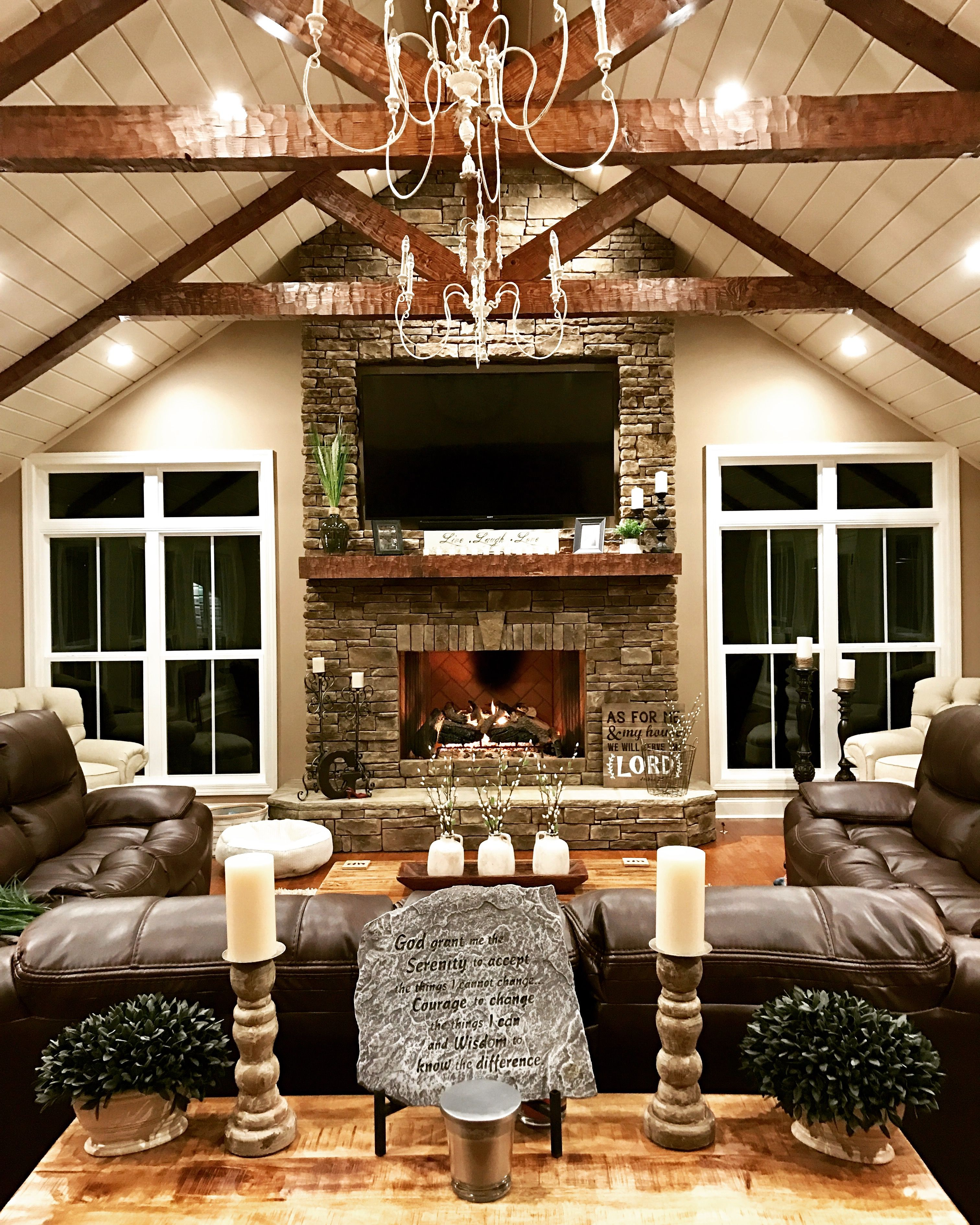 Fireplaces Great Rooms And Room: The Fireplace, The Beams, The Shiplap And The Big Windows. (With Images)