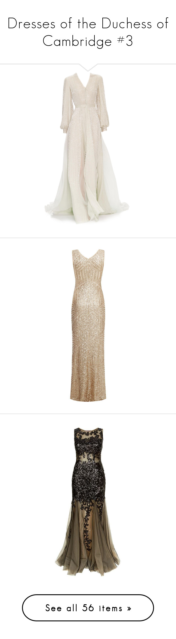"""Dresses of the Duchess of Cambridge #3"" by duchessamparo ❤ liked on Polyvore featuring dresses, gowns, long dresses, vestidos, couture dresses, couture gowns, couture evening dresses, couture ball gowns, gold and sleeveless maxi dress"