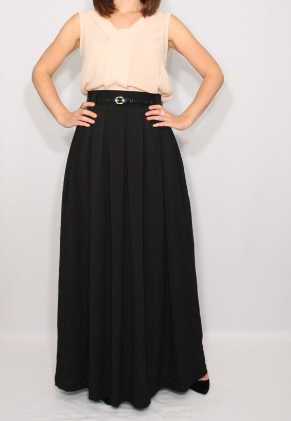 8941364507 Black chiffon maxi skirt Long black skirt High waist maxi skirt with pockets