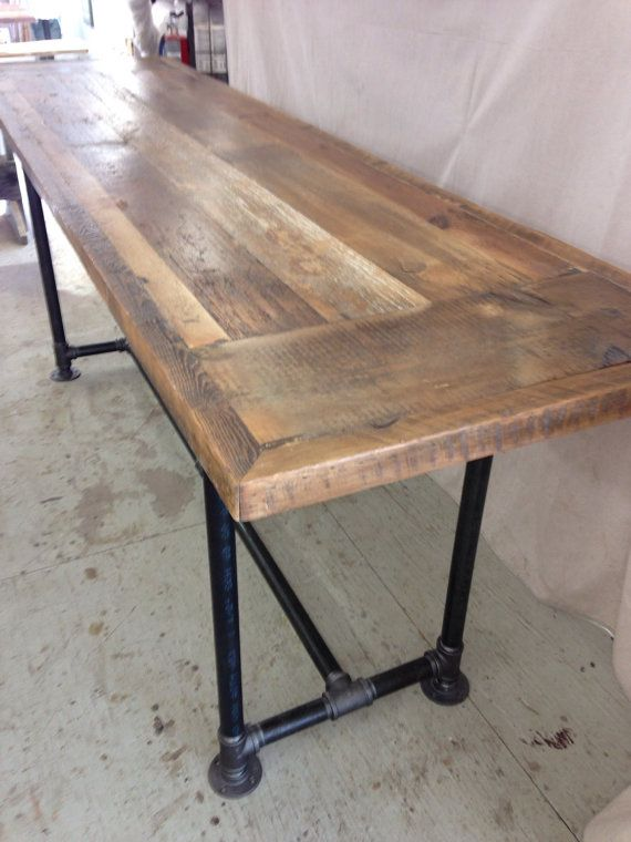 Reclaimed wood dining table industrial 8 ft x 2 ft , 36 ...
