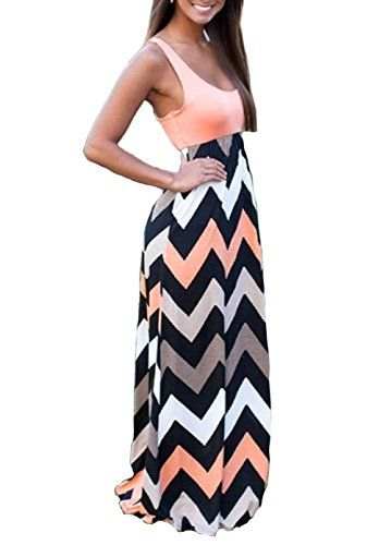 Shangke Womens Ladies Striped Zig Zag Scoop Neck Chevron Print Tank Maxi Long Party Dress S pink >>> Click image for more details.