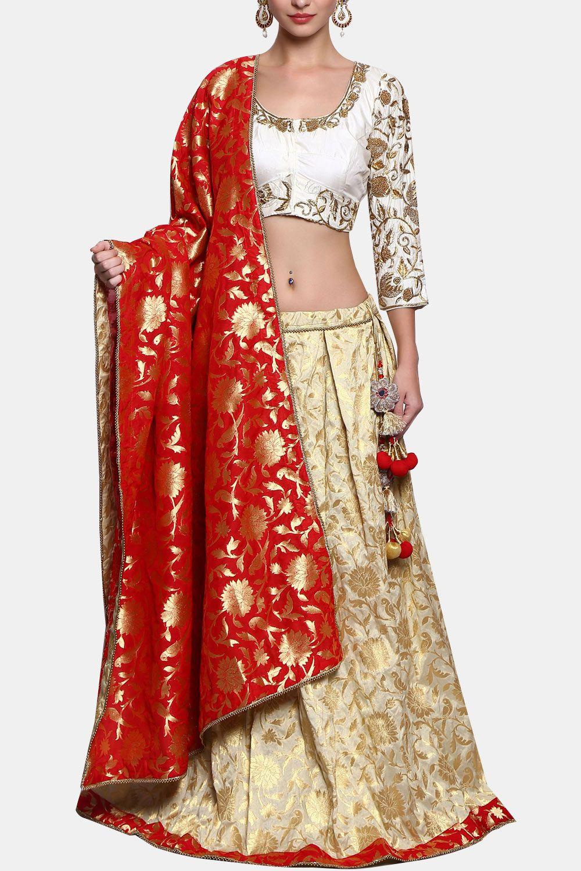41efb8603b Cream brocade embellished lehenga set By Divya Kanakia   Lehenga in ...
