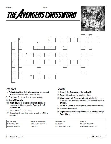 photograph relating to Fun Crossword Puzzles Printable named The Avengers Crossword avenger Free of charge printable crossword