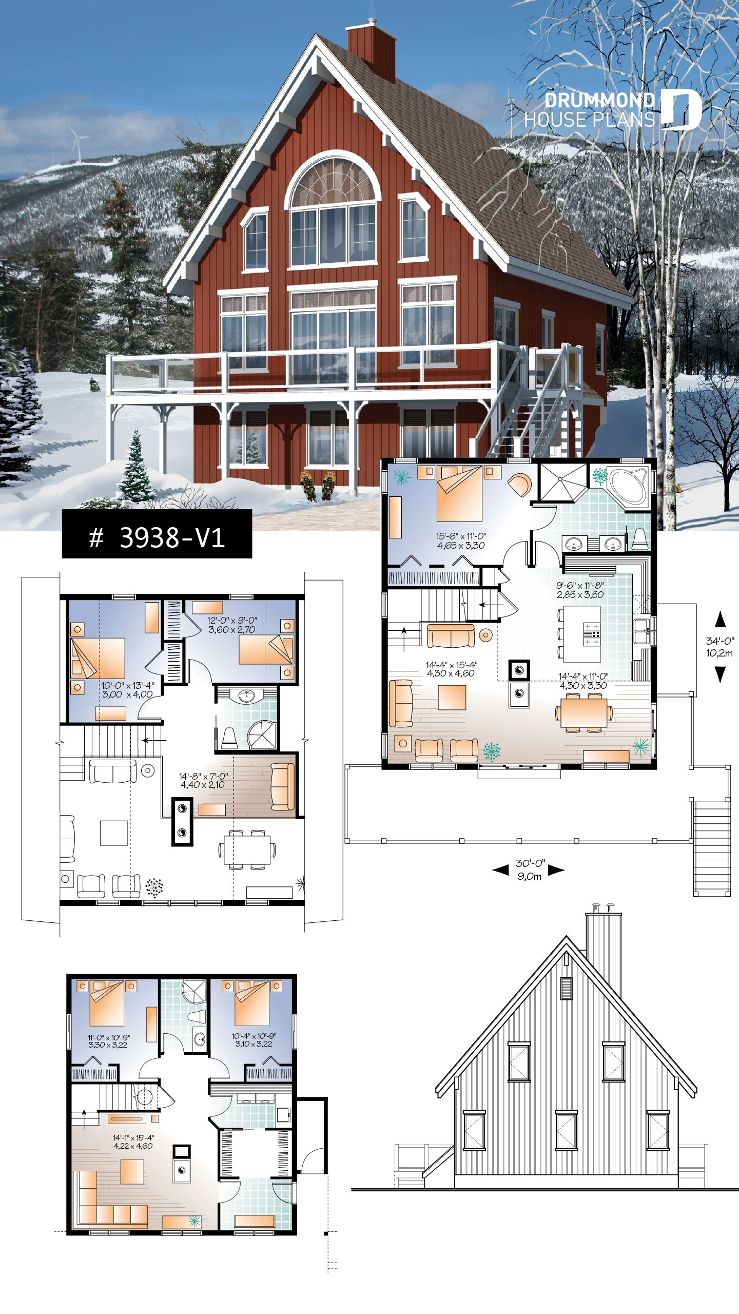 Discover The Plan 3938 V1 Skylark 2 Which Will Please You For Its 1 5 2 3 4 Bedrooms And For Its Cottage Chalet Cabin Styles Cottage Plan Lake House Plans Sims House Plans
