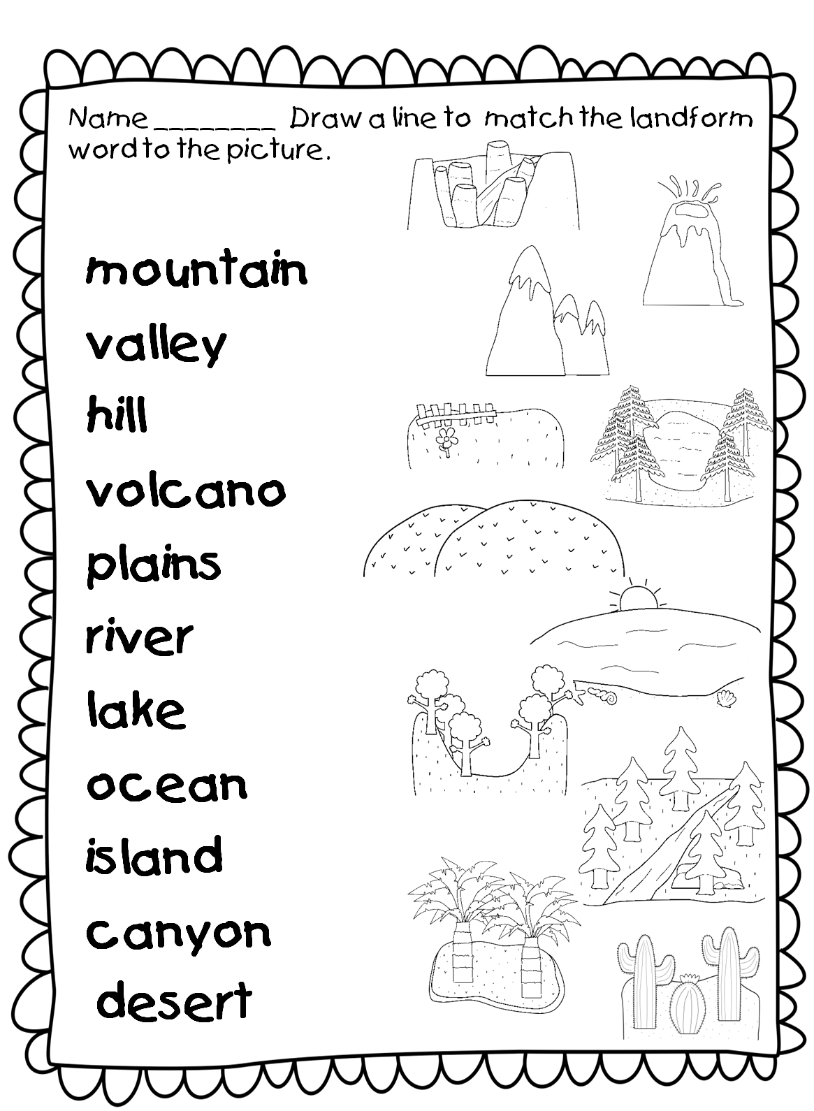 First Grade Simple Matching Worksheet To Test Students Knowledge Of Landforms Before Or During