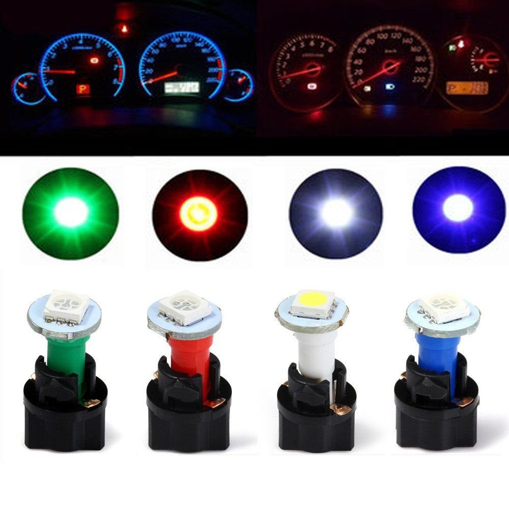 Qook 10 Sets Car Auto Dc 12v 0 2w T5 Led 5050 Smd Instrument Panel Dash Light Bulb Holder White Color Dash Lights T5 Led Electronics Workshop