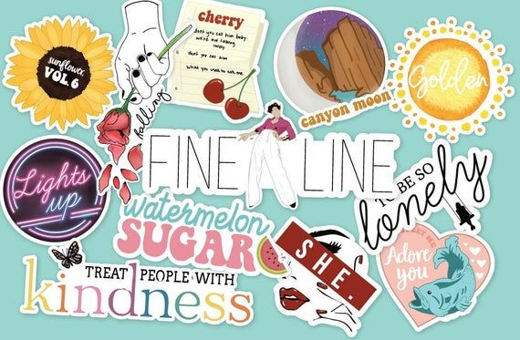 Fine Line Inspired 12 Pc Sticker Pack Etsy In 2020 Harry Styles Wallpaper Harry Styles Drawing Harry Styles Poster