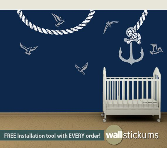Wall decal kids anchor with rope nautical vinyl wall art decal sticker set on etsy
