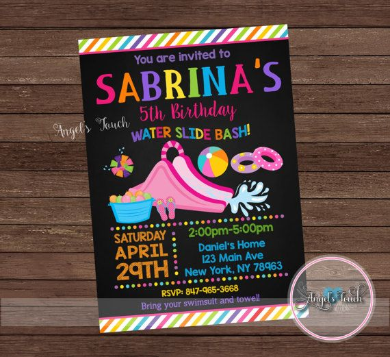 Water Slide Party Invitation Girl Waterslide Birthday Invitation