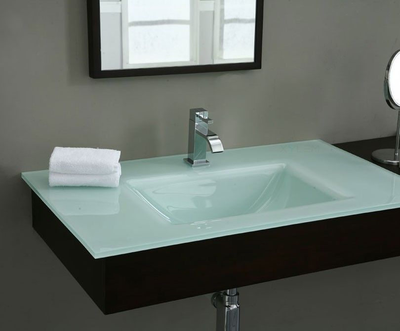 37in White Glass Top With Rectangular Bowl Modern Bathroom